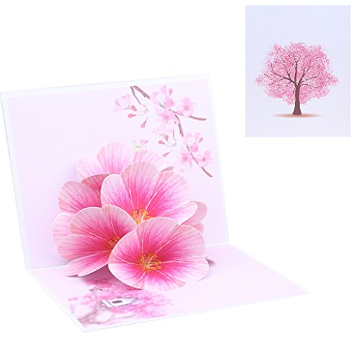 Kofun Grußkarte 3D Pop up Peach Blossom Weihnachten Geburtstag New Year Einladung Handgefertigt Hochzeit Einladung-Geschenk-Box Pfirsich Blüte Blume - Peach Blossom Dusche