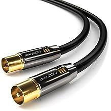 deleyCON 2m TV Antennenkabel PREMIUM HDTV Full HD - TV Kabel (Koaxialkabel) - TV-Stecker zu TV-Buchse - Schwarz - METALL vergoldet - analog/digital