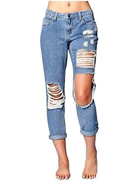 ALIKEEY 2018 ♛ Jeans EláSticos De Mezclilla Azul Mujer Destruyen Los Pantalones Pitillo Rasgados Flacos Cintura...
