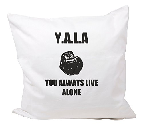 "Kissenbezug 40x40 cm ""YALA You Always Live Alone- JGA Lach FACE"" aus Baumwolle - Kissenhülle- Bettbezug- 40x40 - Spass- Kult- DVD- Fun- JGA"