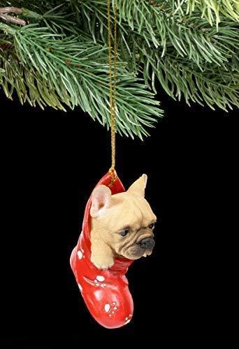 Figuren Shop GmbH Christbaumschmuck Hund - Französische Bulldogge   Dekoartikel Zum Hängen, Handbemalt (Kunststoff Katze Und Hund Figuren)