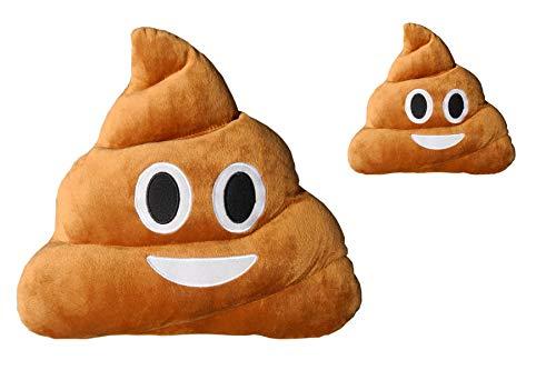 Haufi® - cuscino emoji che sorride - emoticon whatsapp - faccina cacca - la vera moda dell'anno - microfibra - 28 cm - prodotto originale