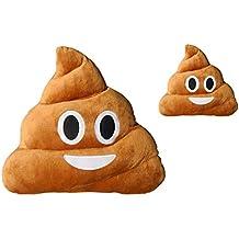 Haufi Cojín Emoji Sonriente - Almohada EMOTICONOS Caca Whatsapp - Microfibra - 28 cm - La