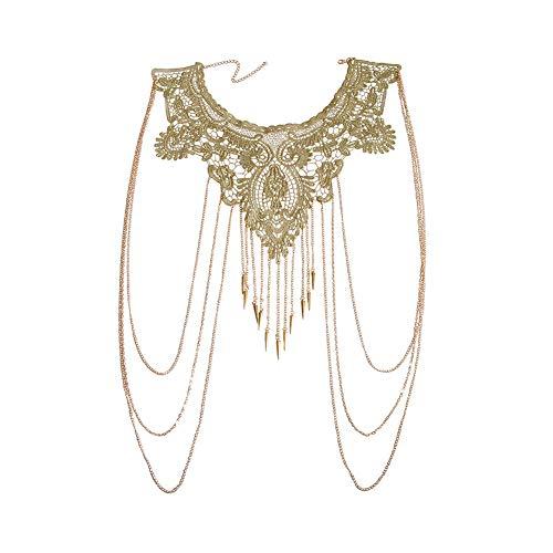 Ssowun Damen Körperkette, Schulter Körperschmuck Body Chain Bikini Chain Partykleid Kette Halskette Bauchketten Strand Körper Halskette