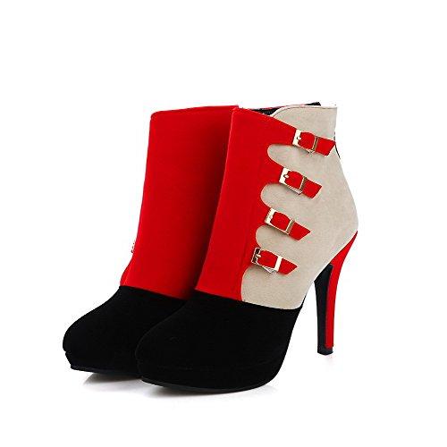AllhqFashion Damen Gemischte Farbe Hoher Absatz Rund Zehe Nubukleder Reißverschluss Stiefel Rot
