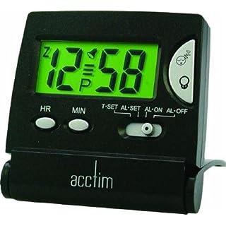 Acctim Mini LCD-Klappwecker–Acctim Mini LCD Flip Wecker schwarz Crescendo Schlummerfunktion am/PM-Anzeige Kunststoff Fall & Objektiv inkl. Travel CAS