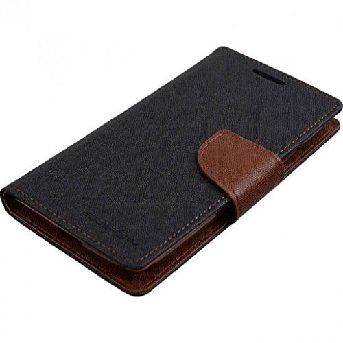 FUSON Mercury Fancy Diary Wallet Flip Cover for Samsung Galaxy J2,(Black & Brown)
