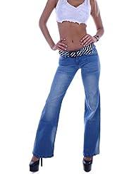 Damen Bootcut Jeans Schlaghose Hüftjeans Hose Hellblau mit Gürtel 32 XXS 34 XS 36 S 38 M 40 L 42 XL 44 XXL