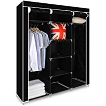 Funime Triple Canvas Wardrobe Cupboard Clothes Storage Solution with Hanging Rail Storage Shelves Large 150cm x 45cm x 175cm Black