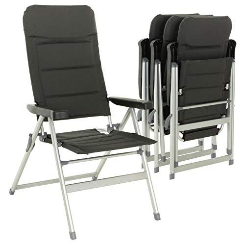 Nexos 4er Set Premium Klappstuhl Relax-Stuhl Campingstuhl Klappsessel - für Garten Terrasse Balkon - klappbarer Gartenstuhl gepolstert Alu - schwarz grau