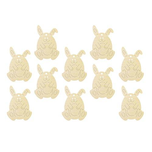 Fenteer 10pcs Bunny Form Holz Scrapbook Deko Scheiben Verschönerung für Ostern Party