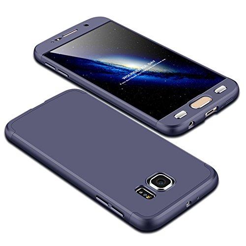 Samsung Galaxy S6 Schutzhülle TXLING 3 in 1 Handyhülle Ultra Dünn Hartschale 360 Grad Full Body Schutz 3 Teilig Styliche Handytasche Backcover Anti-Kratzer Elegant Stoßfest Hart PC Skin Rückdeckel Glatte Rückseite Bumper für Samsung Galaxy S6 - Blau (Gehäuse Libelle-pen)
