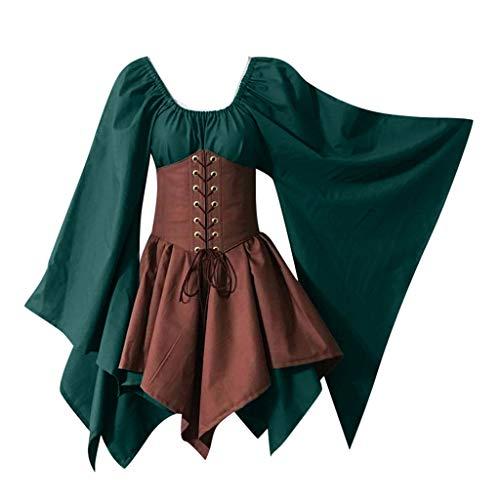 Renaissance Hosen Kostüm - Trisee Damen Halloween Kostüm Knielang Ballkleid Mittelalter Kleid Gothic Retro Kleid Renaissance Cosplay Kostüm Korsettkleid Traditionelle Bekleidung mit trompetenärmeln
