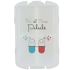 Pilulier Boite à Médicaments 10 Compartiments Monsieur et Madame