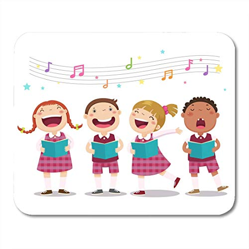 Deglogse Gaming-Mauspad-Matte, Music Sing of Choir Girls and Boys Singing Song Mouse Pad, Desktop Computers mats (Pic 4 Song)