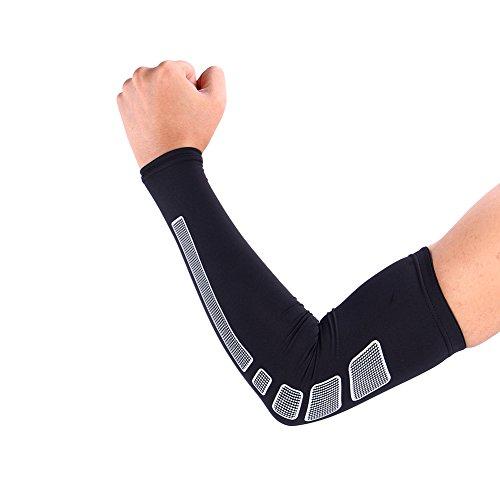 1 Paar Armbandage Kompressions-Ellenbogenbandagen Arm Sleeve Ellenbogen Schoner UV-Schutz Atmungsaktiv Herren Damen für Outdoor Basketball, Joggen, Fitness Sport ( Farbe : Schwarz , Abmessung : XL ) (Schoner Ellenbogen Schutz)