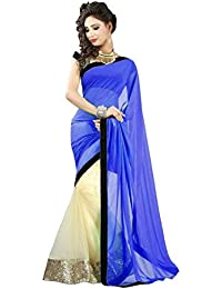 Fab Ikshvaku Women's Georgette Half And Half Saree With Blouse Piece CTHS Sarees 120_Blue_Free Size