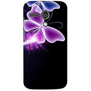Casotec Neon Butterfly Light Abstract Shine Design 3D Printed Hard Back Case Cover for Motorola Moto G 1st Generation