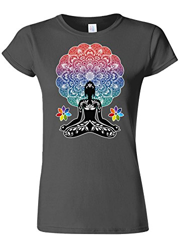 Yoga Buddha Chakra Meditation Zen Hobo Boho Novelty Charcoal Femme Women Top T-Shirt-M
