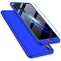 Funda Huawei P20 y Protector de Pantalla de Vidrio Templado, MISSDU Carcasa 3 in 1 360 Grados Rígida PC Protective Anti-Rasguños Case, Azul