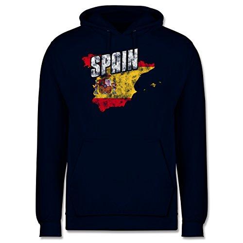 EM 2016 - Frankreich - Spain Umriss Vintage - Männer Premium Kapuzenpullover / Hoodie Dunkelblau