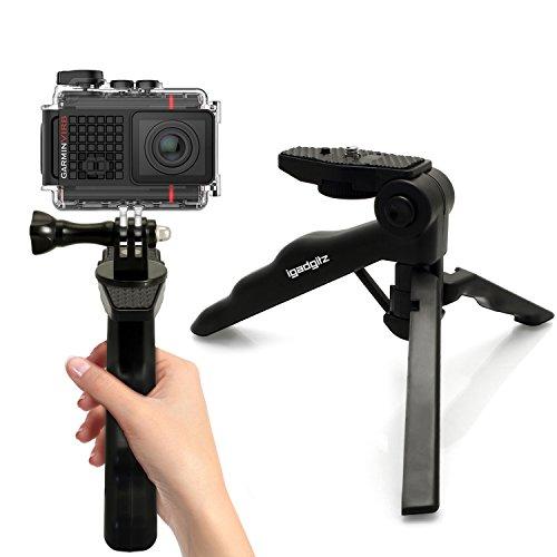 igadgitz 2-in-1 Pistolengriff Stabilisator und Kompaktes Dreibeiniges Mini-Tischstativ + Adaptor Halterung mit Rändelschraube & Mutter für Garmin Virb Action Cams HD, Ultra 30, X, XE