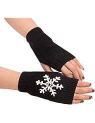guantes para mujer invierno del tirón sin dedos impresión del copo de nieve guantes deportivos fitness gimnasio ciclismo invierno guantes tejidos de lana guantes medio dedo de Sannysis
