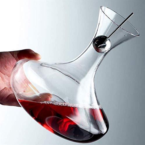 JTHAO 1.8L Weinkaraffe Mit Stahlkugel Stecker Klassische WeinkaraffeMundgeblasen Bleifreies Kristallglas-Wein Zubehör Bier Für KTV Party Bar Home Hochzeit (Champagner Led Gläser)