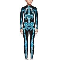 TENMET Boys Girls Skeleton Costume Hallowen Cospaly Bodysuit for Kid,Blue,M