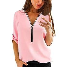 Damen Bluse,Jaminy Frauen Casual Tops Shirt Damen V-Ausschnitt Reißverschluss Lose T-shirt Bluse Tee Top