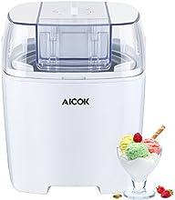 Aicok Maquina de Helados, Yogurts y Sorbetes de 1,5 Litros de Capacidad con Función de Temporizador y Libro de Recetas Incluido, Blanco
