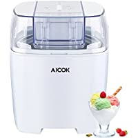 Aicok Macchina Per Gelati Frozen yogurt e Sorbetti MacchinaBasso Consumo Energetico Con Funzione Timer e Ricettario 1.5L, Colore Bianco
