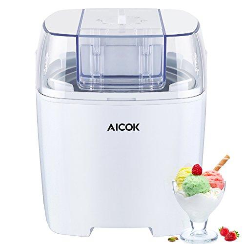 Maquina de Helados Aicok Helados de Yogurts y Sorbetes 1,5 Litros con Temporizador, Blanco