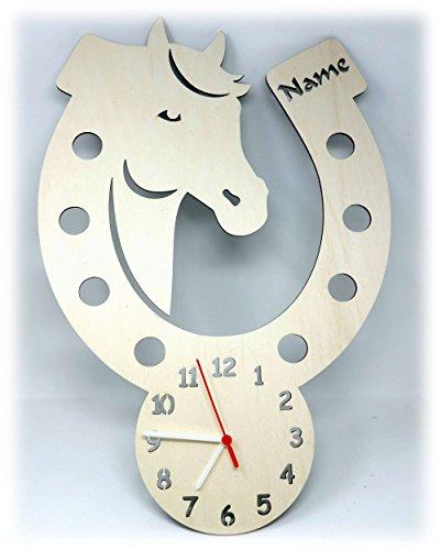 Wand Uhr Pferd Pferde Sachen mit Name Deko Zubehör Geschenk für Mädchen Kinderzimmer Einschulung - Wand-uhr Personalisierte