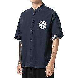 ZhuiKunA Hombres Camisa Japonés Cardigan Yukata Estilo Kimono con Impresos Vintage Holgado Casual Marina de Guerra L