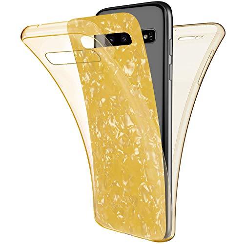 Uposao Kompatibel mit Samsung Galaxy S10 Hülle 360° Full Body Cover Rundum Handyhülle Doppel-Schutz Hülle Vorne Hinten Schutzhülle Silikon Bling Glänzend Glitzer Durchsichtig Tasche,Gelb