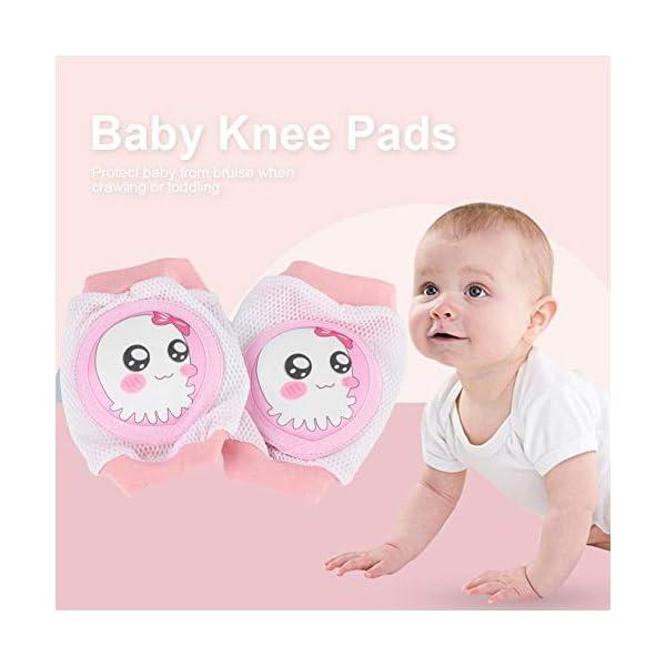 Almohadillas de rodilla para bebés, Unisex Súper Suave Respirable Malla 3D, ajustables de dibujos animados para Niños… 3