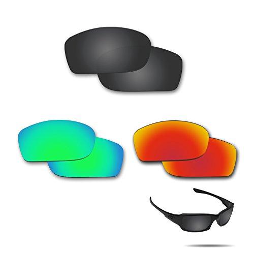 fiskr anti-saltwater Polarisierte Ersatz Gläser für Oakley Fives Squared 3Paar Pack, Stealth Black & Fire Red & Emerald Green