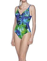 Arena Mujer Palm–Bañador, mujer, Damen Badeanzug Palm, pix blue multi, 38