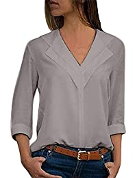 cb66d3d1ee7 Guesspower Chemisier Femme Manches Longues Tunique Button Up Shirt Rayé  Chemise Col V Top Blouse Mode