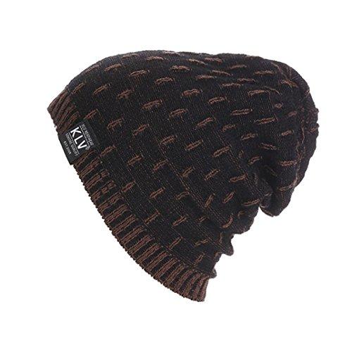 Strickmützen,Beikoard Herren Damen Winter Warm Wolle Knit Ski Beanie Skull Lumpy Mützen Häkelmütze Kappen (Schwarz) (Skull Knit Beanie)