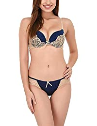 448de81175 Glus Polyamide Women s Honeymoon Bridal Double Push Up Bra and Bikini Set