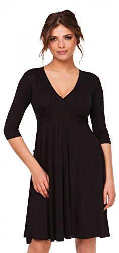 Glamour Empire. Damen Gerafftes Skaterkleid Kleid mit V-Ausschnitt. Taschen. 783 Schwarz