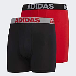 adidas Boys / Youth Sport Performance Climalite Boxer Brief Underwear (2-Pack), black/solid red/solid red/black, Medium