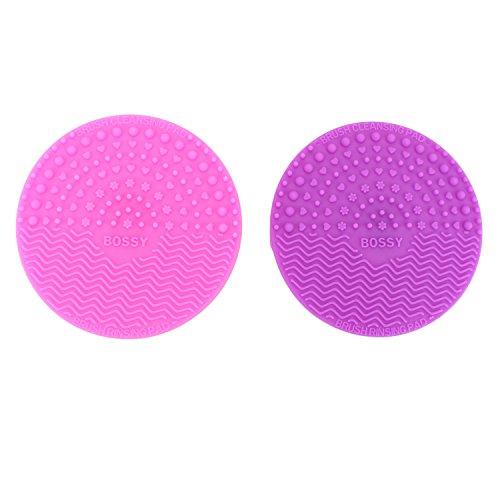 Pinzhi -2pcs Mini Tapis Silicone pour Nettoyage de Pinceaux à Maquillage Nettoyeur Brosse de Maquillage avec Ventouse - Rose+ Violet Foncé