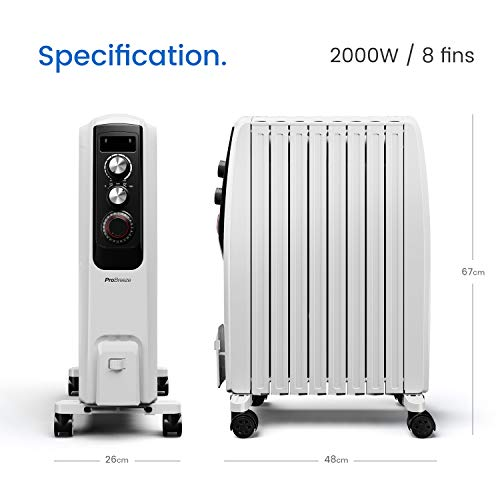 41du9OzMYjL. SS500  - Pro Breeze Oil Filled Radiator 2000W Advanced Chimney Circulation – Portable Electric Heater with Built-in Timer, 3 Heat Settings, Thermostat and Safety Cut-Off