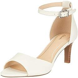 Clarks Laureti Grace, Zapatos con Tacon y Correa de Tobillo para Mujer, Blanco (Off White Leather-), 40 EU