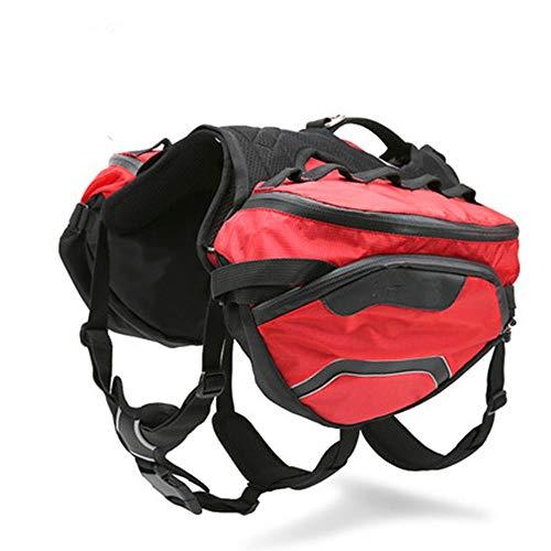 PQXOER-PE Hunde-Satteltasche für Outdoor-Abenteuer, verstellbar, für Camping, Wandern, Rucksack, Satteltasche für extra große Hunderassen, Farbe: Grün, Rot, S/M/L