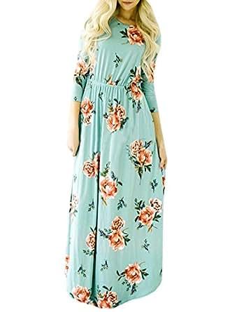 d6c3a4a925bf0 Image indisponible. Image non disponible pour la couleur   AiSi Robe Longue  Fleurie Femme Robe Imprimee avec Poche Col Ronde Manche 3 ...