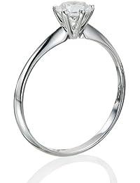 Zertifikat Klassischer 18 Karat (750) Weißgold Damen - Diamant Ring Round 0.30 Karat F-SI2 (Ringgröße 48-63)